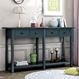 Retro Console Table Sofa Table for Entryway with Drawers and Shelf Living Room Sideboard (Antique Navy)