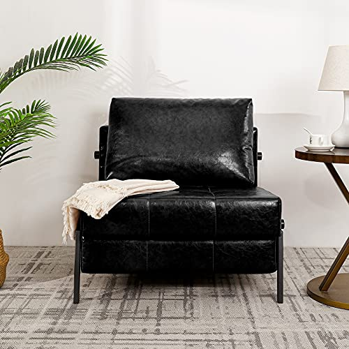 Vonanda Faux Leather Sofa Bed, Easy Folding Sleeper Sofa with Hidden Legs and Sturdy Frame, Modern Sleeper Chair for Compact Living Space, Black