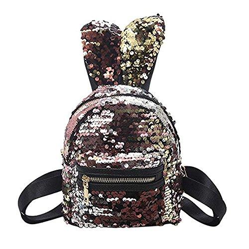 Emorias Lot de 1 sac à dos d'écolier avec oreilles de lapin et paillettes Motif animaux Doré