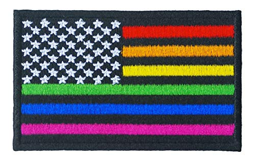 Graphic Dust Colorful USA America United States LGBT Gay Lesbian Rainbow Flag Iron On Embroidered Patch Gay Pride US American Equal Justice Human Freedom Law Uniform Costume Emblem