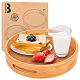 pack of 2 bamboo serving tray with handles, wooden serving tray for ottoman, coffe table, living