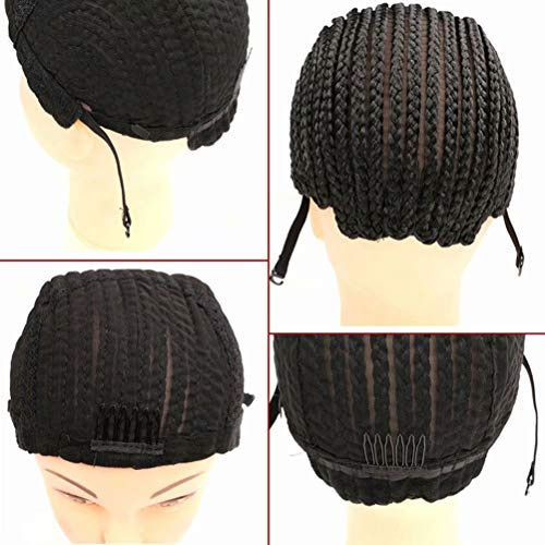 Adjustable Cornrow Braided Wig Cap for Sew in Weave and Crochet Braids Breathable Crochet Wig Caps with Adjustable Straps and Combs for Women for Making Wigs (2pc wig cap with adjustable strad)