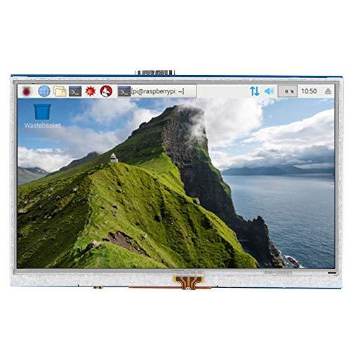 Nicoone Pantalla de 5 Pulgadas Pantalla Táctil Resistiva de 4 Cables Compatible con HDMI LCD Tablet Accesorio para Raspberry Pi 3B/ 4B