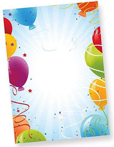 Motivpapier Briefpapier Geburtstag 50 Blatt DIN A4 90g bunt Luftballons Party