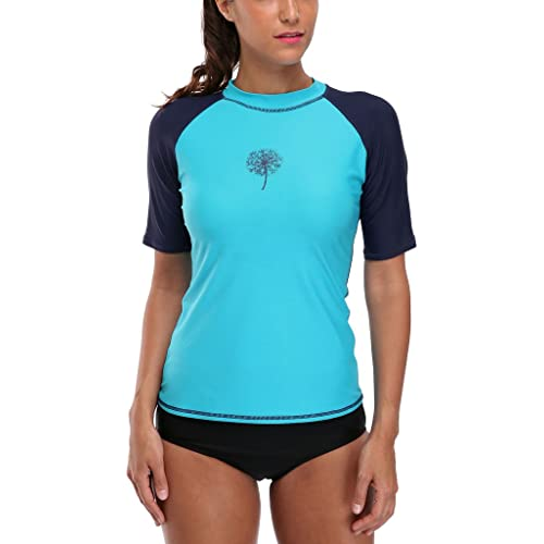 f4199651bfa ATTRACO Women UV Rash Vest Short Sleeve Rash Guard Colorblock Swimming  Surfing Swim Top