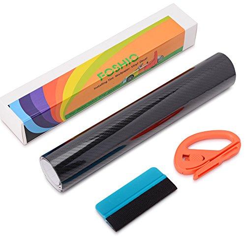 FOSHIO 5D Autofolie Carbonfolie Set Vinyl Wrapping mit Selbstklebender Car Wrapping folie, Profi Folienschneider Cuttermesser und Rakel, Blau, 150 x 30cm