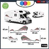 1198 - Lot de stickers autocollants en forme de vague pour camping-car, camionnette, van, pour les 2 côtés -...