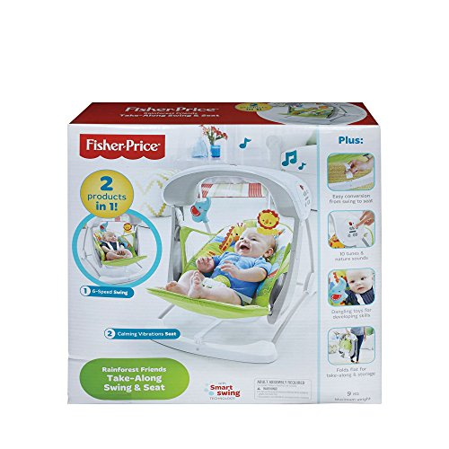 Fisher-Price Rainforest Take Along Swing and Seat Set, New-born Baby Swing Chair with Calming Vibrations, Songs and Sounds, Suitable from Birth