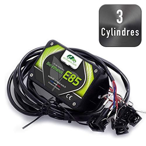 Kit Ethanol Flex Fuel - E85 - Bioethanol - 3 Cylindres + Interface de Diagnostic ELM327 - Compatible avec Renault, Peugeot, Citroen, BMW, Audi. (Toyota)