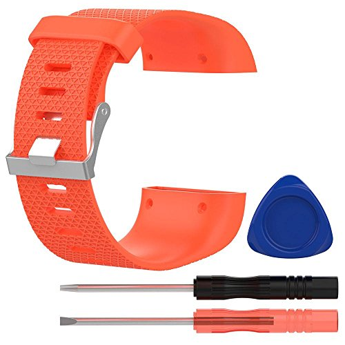 KOBWA Ersatzband For Fitbit Surge, Silikon Armband With Metall-Spange and 3 Stk Werkzeuge For Fitbit Surge (Orange, L)