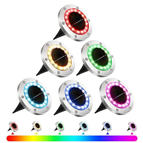 ANEEWAY RGB Luces Exterior Solar 16 LEDs Tierra Luz Lámparas Solares 6 Piezas Jardin Multicolor Decoracion para Calzada Césped Junto a la Piscin