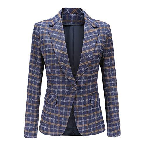YYNUDA dames Blazer Slim Fit Casual werk met lange mouwen Blazer Jas met één knop Plaid pak jas