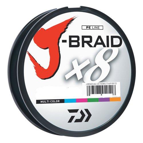 Daiwa JB8U20-300MU J-Braid Braided Line, 20 Lbs Tested, 330 yd/300M Filler Spool, Multi Color