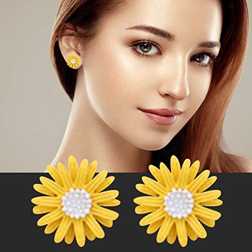 Pendientes de mujer simples y atmosféricos con flores amarillas frescas de estilo coreano para fiestas