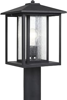 Sea Gull Lighting 82027-12 Hunnington One-Light Outdoor Post Lantern with Clear Seeded Glass Panels, Black Finish