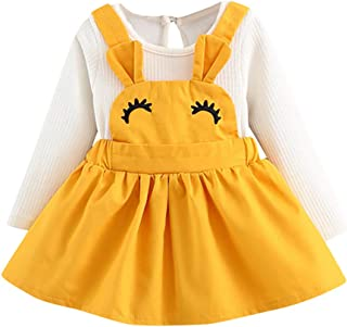 ❤️Mealeaf❤️ Baby Boys and Girls Clothes with Infant Baby Girl Eyelash Curvy Rabbit Ear Princess Sling Dress Clothes Outfits (18-24 Months Old, Yellow)