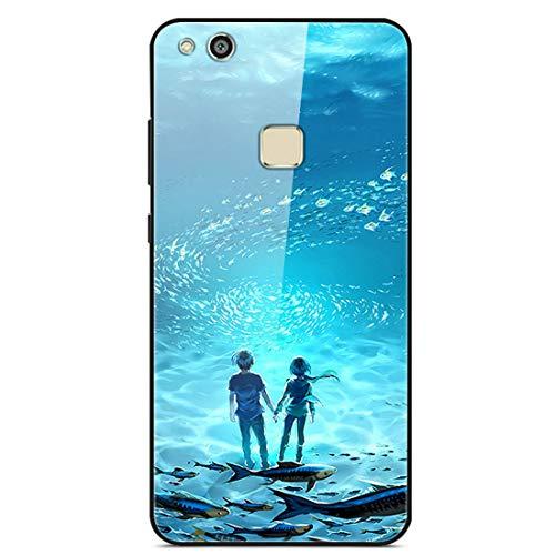 LTao-case YLBL Funda para Huawei P10 Lite Was-LX1 Was-LX2 Was-LX3 WAS-LX1A Funda Cristal Templado + Marco de Silicona 15