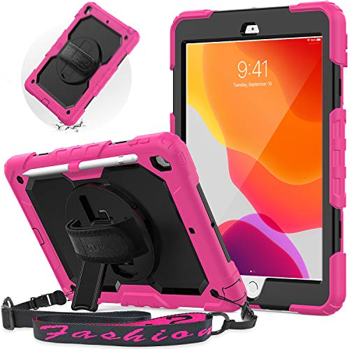 SEYMAC New iPad 10.2 Case 2020/2019, iPad 7th/ 8th Generation Case with Screen Protector, Shoulder Strap,Shockproof Cover with 360 Rotating Kickstand Hand Strap,Pencil Holder for iPad 10.2 Inch,Pink