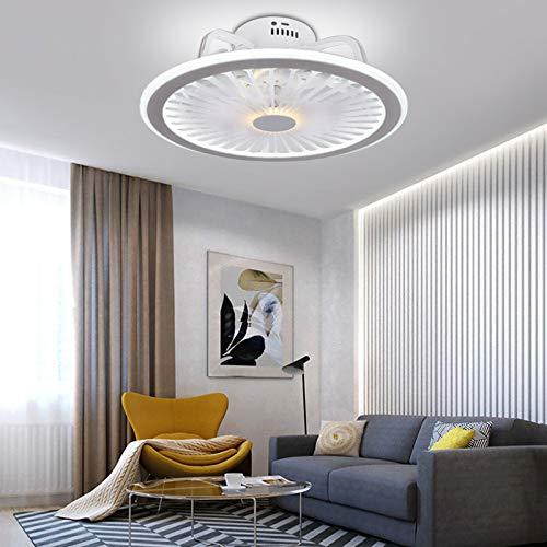 Ventilador redondo de 32 W LED de techo con mando a distancia, luz diurna para baño, salón, despacho, pasillo, cocina, dormitorio