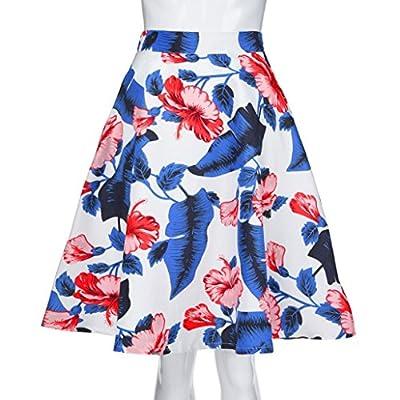 H+K+L Womens Ladies Summer A-Line Street Chiffon Skirt Flowy Floral Print High Waist Skater Skirt Above Knee Mini Skirt