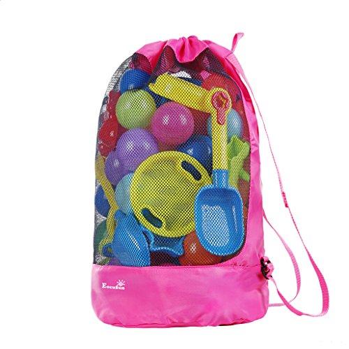 EocuSun Strandspielzeug Tasche Strandtasche Mesh Beach Bag Sandspielzeug Wasserspielzeug Rücksack Beutel für Jungen Mädchen Badetasche XXL für Familie Urlaub, Spielwaren Nicht eingeschlossen (Pink)