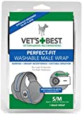 Vet's Best Washable Male Dog Diapers   Absorbent Male Wraps with Leak Protection   Excitable Urination, Incontinence, or Male Marking   Small/Medium   1 Reusable Dog Diaper Per Pack