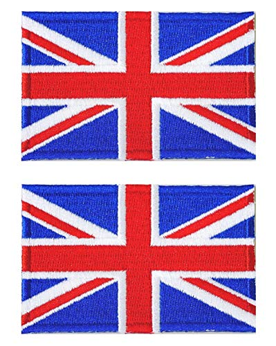 Graphic Dust 2X United Kingdom UK Flag Embroidered Iron On Patch Applique British Union Jack England Great Britain