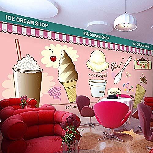 Tapete Wandbild 3D selbstklebendes Brot Kuchen Eis Eis Café Snackbar PVC Fotos Tapete Kinderzimmer Junge Mädchen Sc Wanddekoration fototapete 3d Tapete effekt Vlies wandbild Schlafzimmer-150cm×105cm
