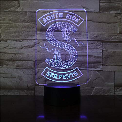 Insignia Riverdale Snake Logo 3D LED luz de noche Southside serpientes decoración letrero cosas Riverdale accesorios lámpara de mesa colores regalo