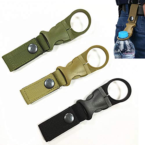 3Pack Hanging Bottle Buckle Clip Carabiner,Portable Mineral Water Bottle Ring Holder Keychain Belt Webbing Strap for Outdoor Camping Hiking Traveling