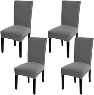 HSCC666 Dining Chair Covers, Stretch Washable Removable Chair Slipcover Dining Chair Protector Cover for Dining Room, Ceremony, Hotel, Banquet (Grey, 4 PCS)