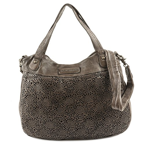 Taschendieb Wien Leder Shopper Handtasche Henkeltasche Schultertasche TD0715, Farbe:Stone