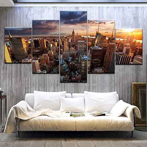 CXZZV Impresión Lienzo Pintura, Cuadro Moderno 200x100cm 5 Piezas Edificio Empire State de Nueva York Impresiones del Arte de la Pared Decoración de Pared Arte Pintura para Hogar Salón Oficina