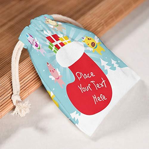 Lind88 Aufbewahrungstasche mit Kordelzug, wiederverwendbar, für Weihnachten, Hochzeiten, Geschenke, Wickeltasche, Weihnachtsstrümpfe, Bedruckt, 6 Stück, Baumwolle, weiß, 20 * 25cm