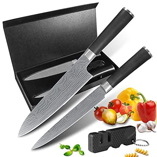 Damascus laser pattern kitchen knife set include carving knife chefs knife and knife sharpener stainless steel sharp Antirusting dishwasher safe