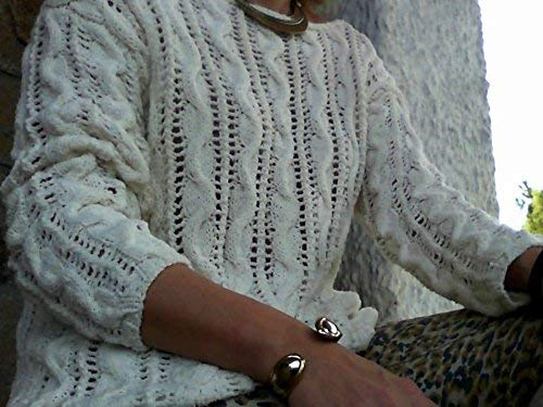Weißer Sommerpullover, handgestrickt, für Damen oder Mädchen, Größe S-M