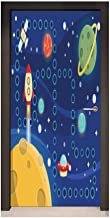 Kids Activity Self Adhesive Wall Sticker Colorful Space Themed Activity Board Interplanetary Travel Racing in Cosmos for Home Decoration Multicolor,W23.6xH78.7