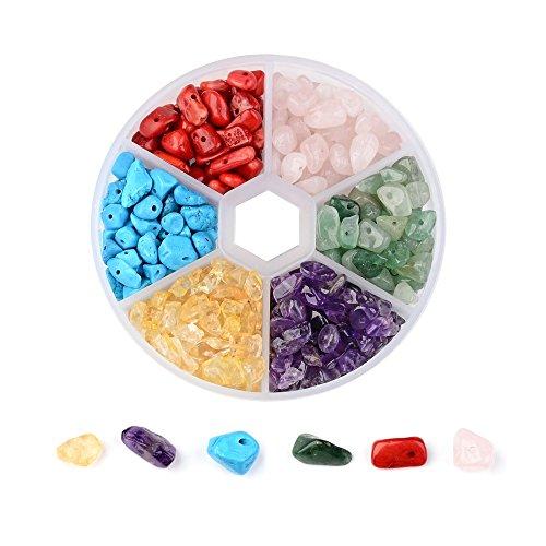 Beadthoven - 350 cuentas de 6 colores naturales con piedras preciosas de 7 a 12 mm, piedras irregulares, piezas de cristal, cuentas sueltas para hacer joyas, agujero: 0,3 a 0,6 mm