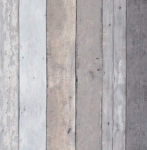 Ciwind - Papel pintado autoadhesivo de imitación de madera para mueble gabinete, pegatinas para muebles, paneles de pared, decoración de mesa, mesa o de cocina, PVC, 44 x 300 cm, color gris claro