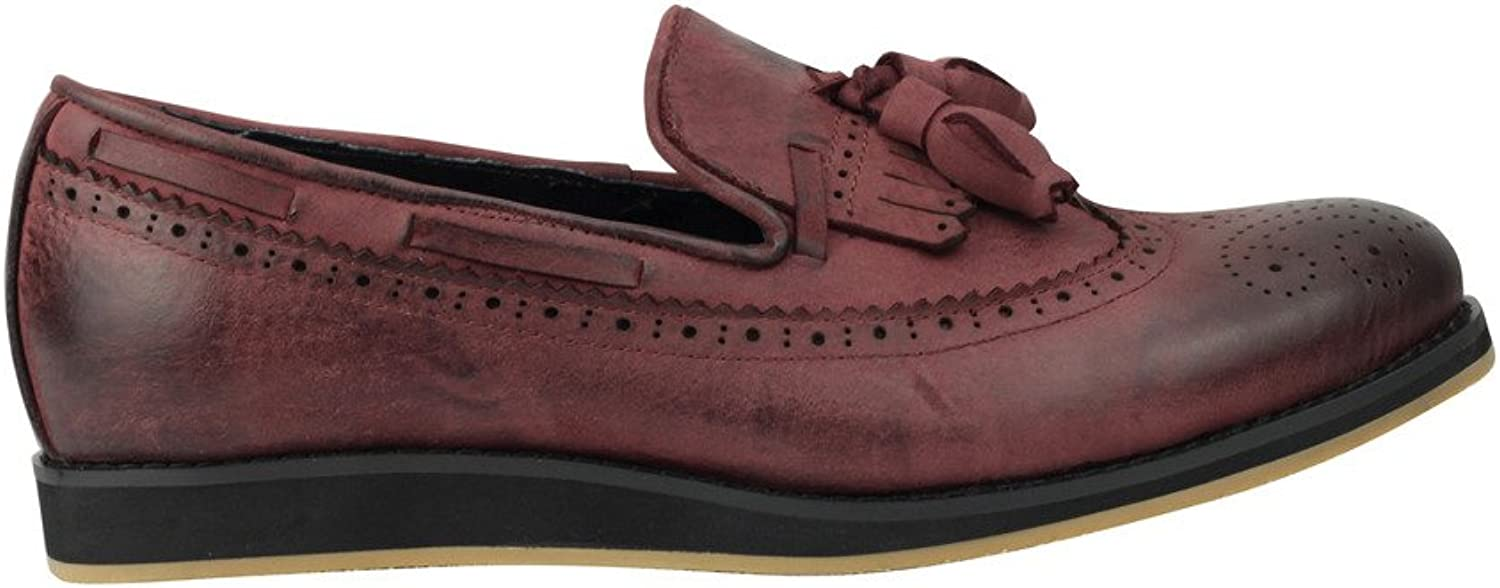 Mens Real Leather Burnished Rusty Maroon Fringed Tassel Flat Slip on Smart MOD Loafer Brogue shoes