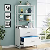 Tribesigns 2 Drawer Vertical File Cabinet with Lock & Bookshelf, Letter Size Large Modern Filing Cabinet Printer Stand with Open Storage Shelves for Home Office, White