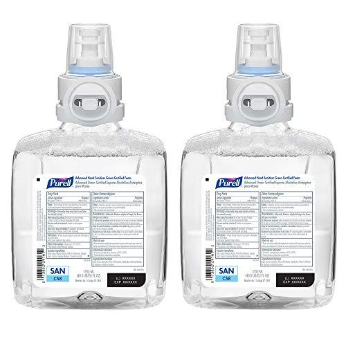 PURELL Advanced Hand Sanitizer Green Certified Foam, 1200 mL Refill for PURELL CS8 Touch-Free Hand Sanitizer Dispenser (Pack of 2) - 7851-02