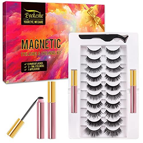 EYEKESHE Pestañas Postizas Magneticas Naturales Incluir Delineador de Ojos y Rizador de Pestañas, Cómodo Impermeable Reutilizable, Adecuado para Maquillaje Carnaval, Boda, Fiesta (10 Pares)