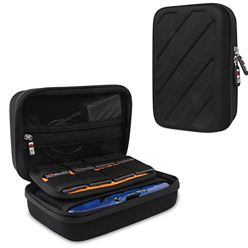 BUBM Travel Case Compatible with New 3DS/ 3DS XL/LL Protective Hard Shell Storage- Nintendo 3ds Games Case Cover, Black