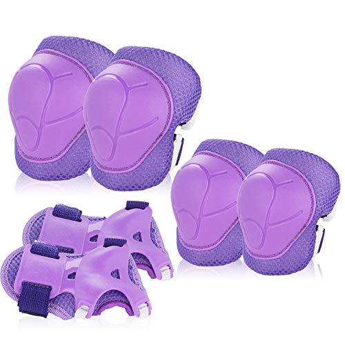 BOSONER Kids/Youth Knee Pad Elbow Pads Guards Protective Gear Set for Roller Skates Cycling BMX Bike Skateboard Inline Skatings Scooter Riding Sports (Purple)