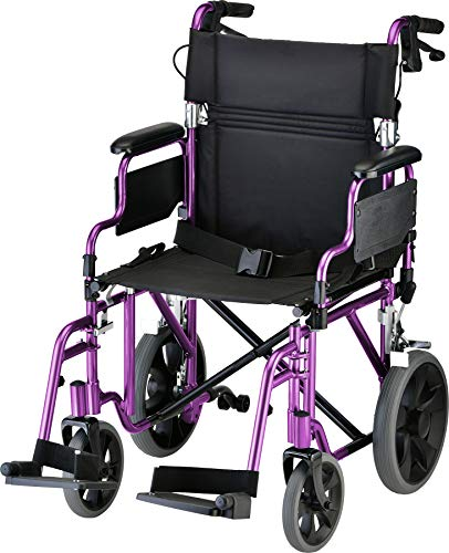 """NOVA Lightweight Transport Chair with Locking Hand Brakes, 12"""" Rear Wheels, Removable & Flip Up Arms for Easy Transfer, Anti-Tippers Included, Purple"""