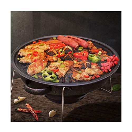FEANG Gusseisen Holzkohle Grill Tischtisch Tragbare Indoor-Haushalt Runder BBQ-Grillofen für Picknick Camping Patio Backyard Kochen