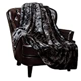 Chanasya Super Soft Fuzzy Faux Fur Throw Blankets - Fluffy Plush Lightweight Cozy Snuggly with Sherpa for Couch Sofa Living Room Bedroom - Dark Fall & Winter Home Decor (60x70 Inches) Black Blanket