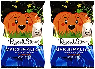 Russell Stover (2) Marshmallow In Milk Chocolate Pumpkin Shaped Halloween Candy Bar Net Wt. 1 oz each