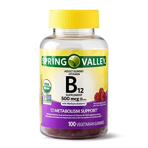 Spring Valley Adult Gummy Vitamin B12, Metabolism Support, Natural Fruit Flavor, 100 Gummies